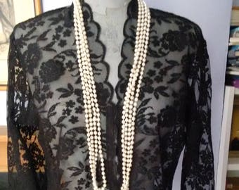 Chic Black Lace tailored blouse.