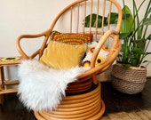1970s Vintage Bamboo Swivel Chair With Cushions - Two Available