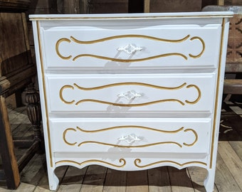 Refurbished French Provincial Chest Of Drawers Nightstand End Table