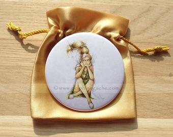 Shiney - Bell - strike Delphine Illustration Pocket mirror