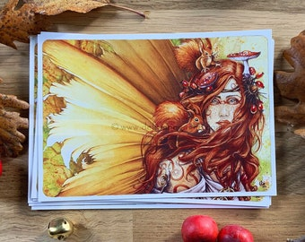 Postcard fairytale theme - Autumn Fairy - Illustration Delphine GACHE