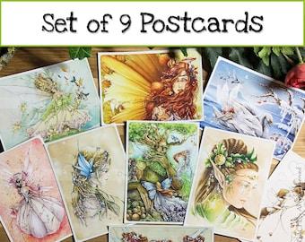 Set of 9 fairytale postcards - Taken from original watercolors Delphine GACHE