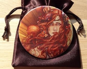 Fairy theme pocket mirror - Autumn Fairy - Illustration Delphine GACHE