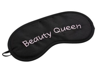 Beauty Queen eye mask sleep mask silky black pink embroidered dream night