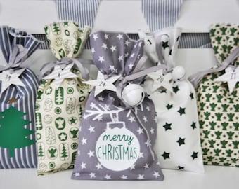 ADVENT CALENDAR to fill Traditional Christmas calendar Fir, Merry Christmas, Star