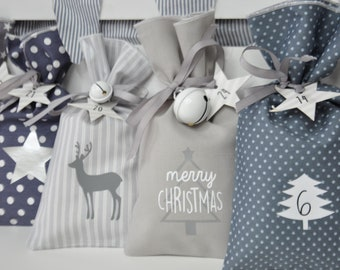 ADVENTSKALENDER in cotton / 24 fabric bags with number tags / Advent calendar for children / Christmas