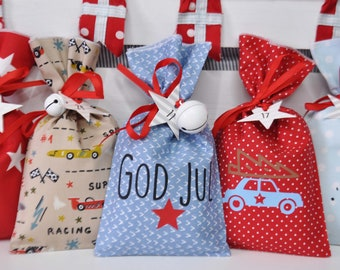 "Car ADVENT CALENDAR ""God Jul"" made of cotton for filling"