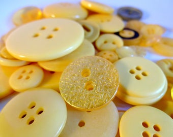 50 assorted yellow buttons - sewing - embellishment - scrapbooking