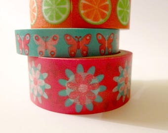 3 Washi tape - flowers, fruit, butterflies - Scrapbook - embellishment