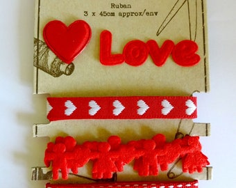 Set of 3 red ribbons and love - heart - scrapbooking - sewing embellishments