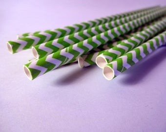 Straws candy bar retro green and white Chevron (x 12) - home decor - embellishment