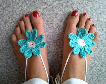 cotton crocheted foot jewelry by hand