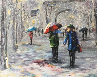 Original painting -  Cityscape - Figurative painting -New York painting-Snow painting-Urban painting-Landscape painting -Figurative painting