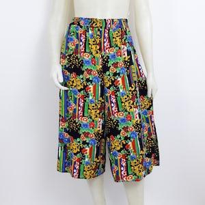 Vintage 80s 90s striped culottes loose fit pants trousers S M