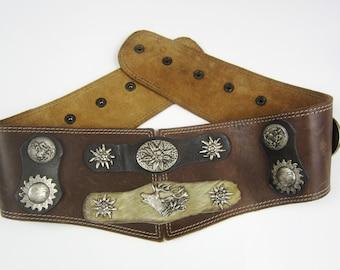 Vintage ceinture cuir fourrure métal cc05c8cdfa6