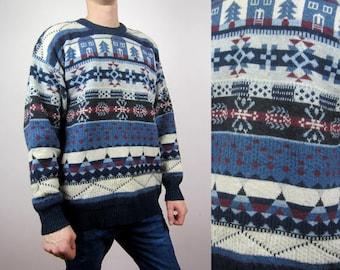 vintage Christmas Fair Isle Nordic chunky knit print wool sweater jumper XXL 2RjywE