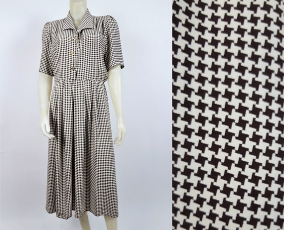 vintage 70s 80s midi pleated houndstooth dog tooth