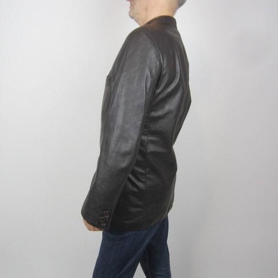 vintage 70s Brown Leather Mens Moto jacket blazer… - image 4