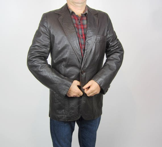 vintage 70s Brown Leather Mens Moto jacket blazer