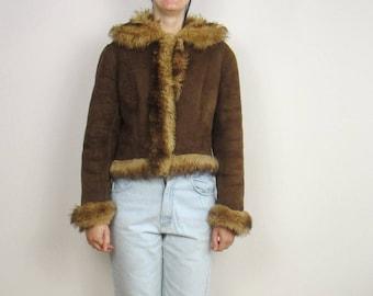 vintage Fur & shearling real fur short jacket winter coat Small