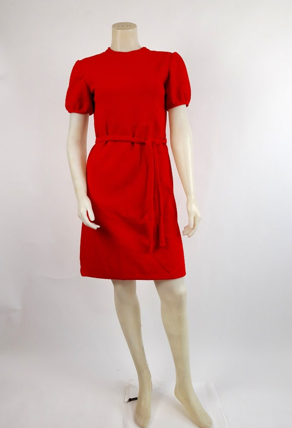vintage 60s 70s Poppy seed Red day dress S M