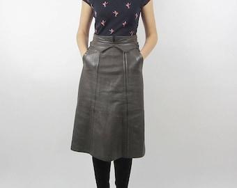 vintage 80s Leather midi high waist panel skirt S M