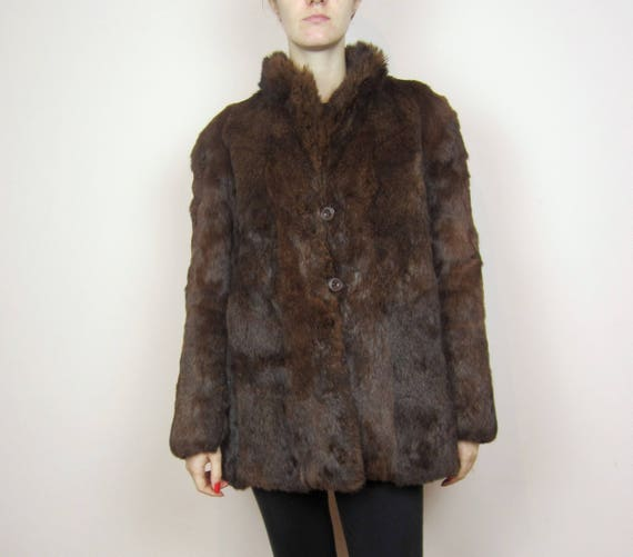 Rabbit S Warm vintage fur Brown M jacket Real coat qxAtBF07