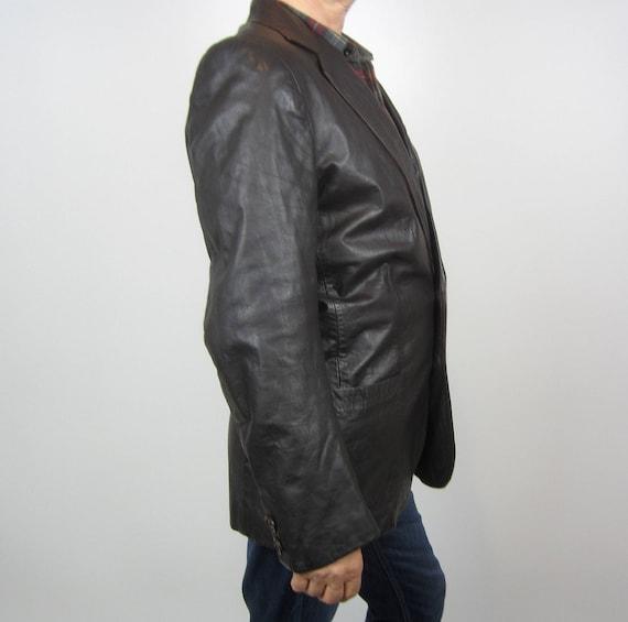 vintage 70s Brown Leather Mens Moto jacket blazer… - image 2
