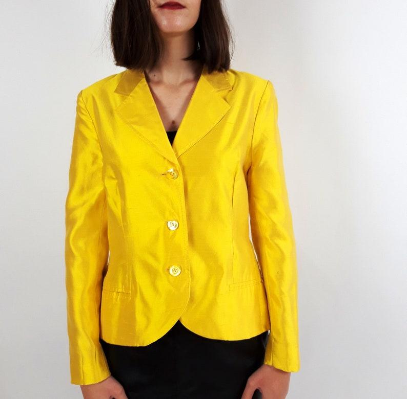 45b7eaac2e1d Vintage 80s 90s ESCADA bright yellow satin silk crop jacket