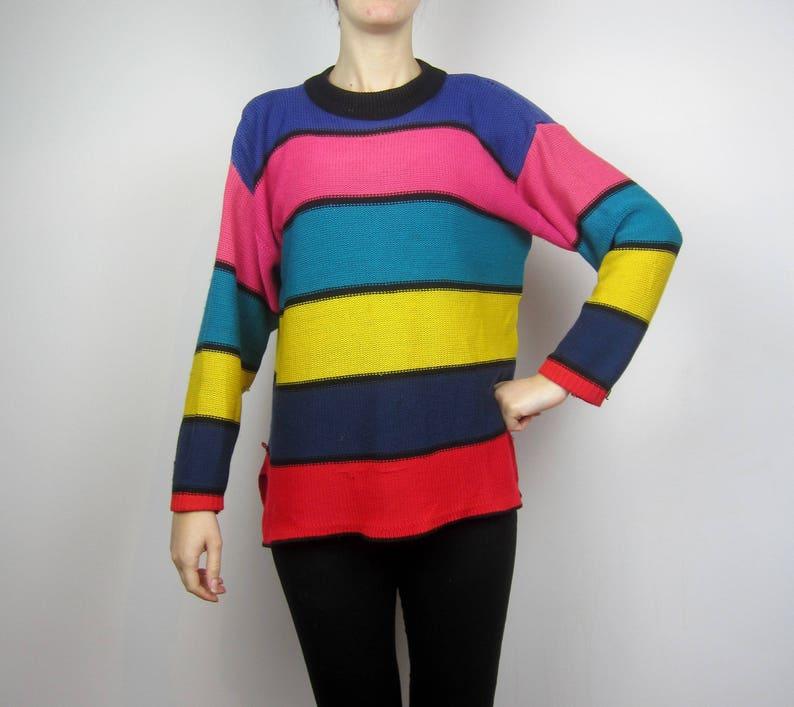 ac815797e49 vintage colourblock striped jumper pullover S M