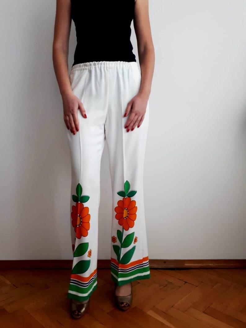 vintage 70s FLOWER POWER  Floral boho hippie wide leg loose fit pants trousers S M