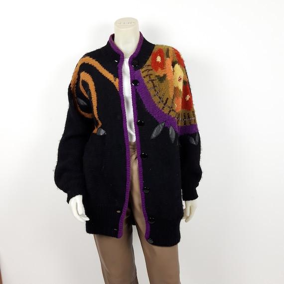 vintage Mohair wool & leather applique oversize gr