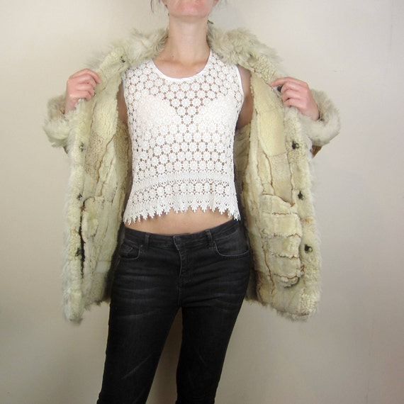 shearling jacket real Fur coat Small fur amp; patchwork winter vintage PqEWYE