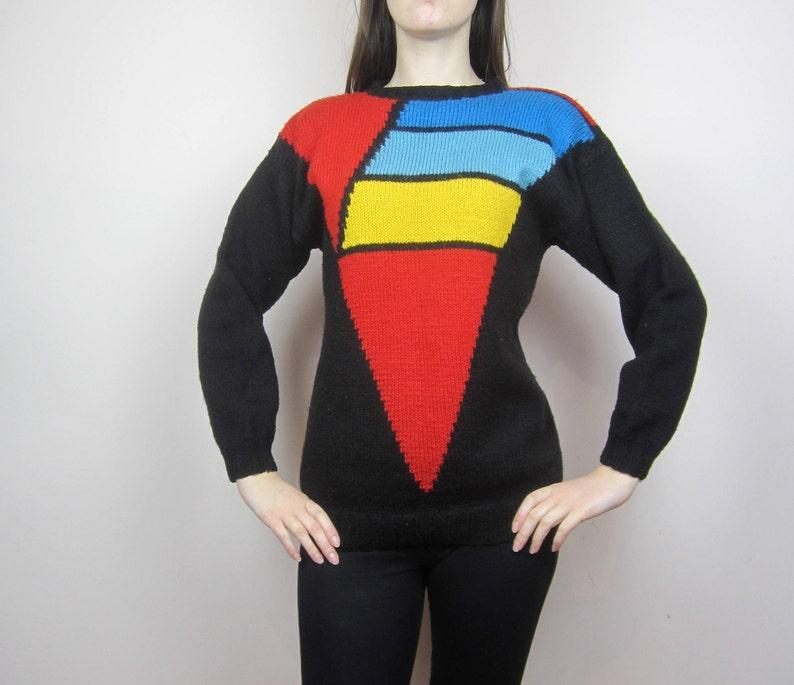 b1d089e4e8f vintage Colour block jumper sweater chunky knit S M