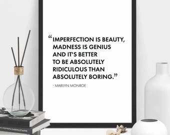 Marilyn Monroe Poster | Imperfection is Beauty, Madness is Genius | Fashion Print | Marilyn Monroe Print | Marilyn Monroe Quote | Home Decor