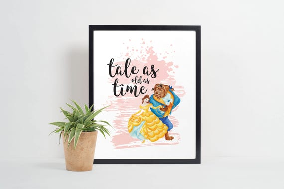 Tale As Old As Time Disney Print Quote Print Beauty And Etsy