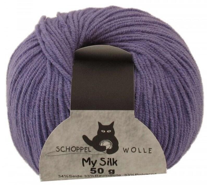 My Silk by Schoppel Cotton Silk Mixed Fabric Soft Yarn  Purple  Knit or Crochet Handmade