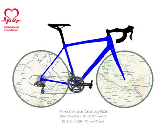 Custom Printable Cycling Gift Personalised Wall Art Print Gifts for Cyclists. Custom Maps Titles Colour Titles. Strava/GPX map route Option