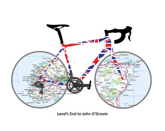 Lands End to John O Groats Digital Print Gift. Personalised Gifts for cyclists. Exclusive Digital LeJog Achievement Souvenir.