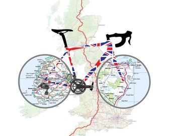Unique LeJog Cycling Gift Art Print. Lands End to John O Groats Digital Print including our Bike Maps, UK Map and GPX Strava track