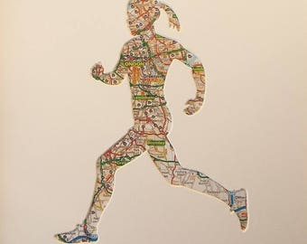 Runner Gifts for Women. Running Gift for Her Wife Girlfriend. 5K 10K Half Marathon and Marathon Running Maps Art Gifts for Runners artwork