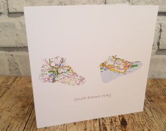 Walking Boots Card Gift Map Art South Downs Coast to Coast South West Coast Path Camino de Santiago. Available with custom title