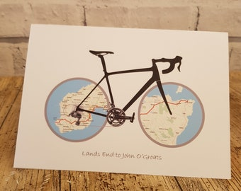 Personalised Card for Cyclist. Cycling Gift for Men and Women. Hand finished card blank for greeting