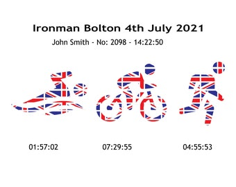 Ironman UK Bolton 2021 Personalised Gift Souvenir Bolton Ironman 140.6 Achievement Memento include name, number and times – Digital Print