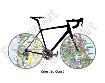 Coast to Coast Digital Print. Personalised Gifts for cyclists. Exclusive Sea 2 Sea Achievement Souvenir. Whitehaven to Tynemouth