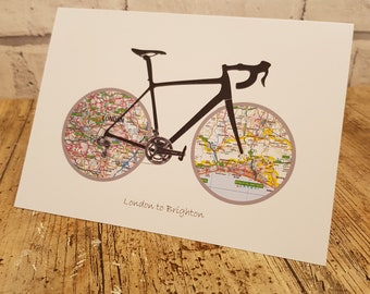 Greetings Card for Cyclist. Cycling Gift for Men and Women. Hand finished card blank for greeting. Personalisation options available