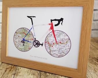 Tour de France 2021 Wall Art Print including Col de Tourmelat and Mont Ventoux maps and climbs. Perfect gift for a Le Tour fan.