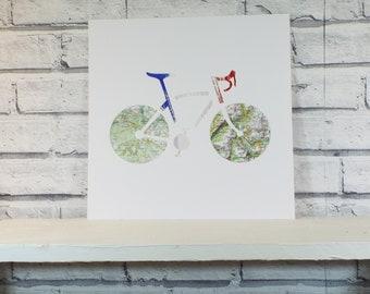 Alpe d'Huez Ventoux Mountain Challenge Personalised Gift for Cyclists Epic Cycling wall art Maps Unique Original Artist Signed Souvenir