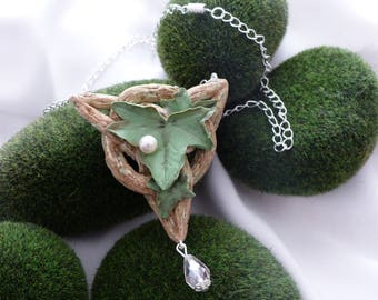 Celtic/elven necklace polymer clay and swarovski crystals