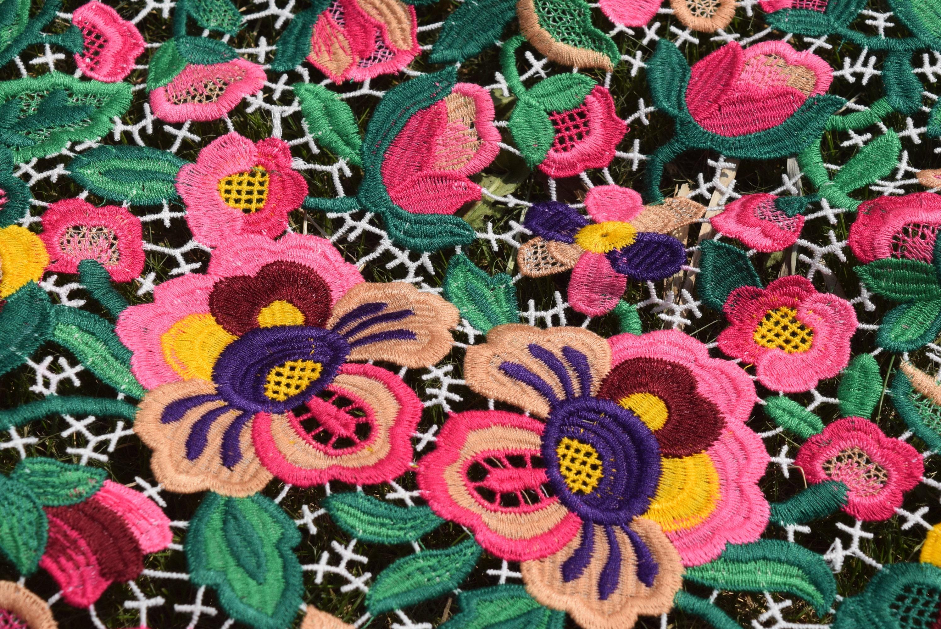 Tela de encaje guipur Multicolor de lujo para boda vestido de | Etsy
